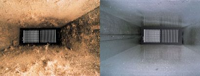 Ventilation ducts before and after being cleaned.