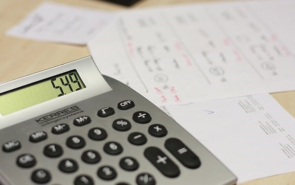 Calculator with utility bills.