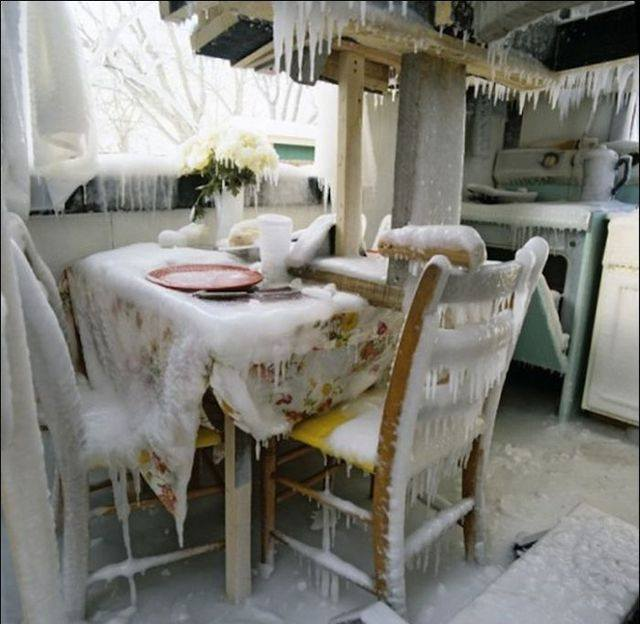 A kitchen that is completely frozen over.